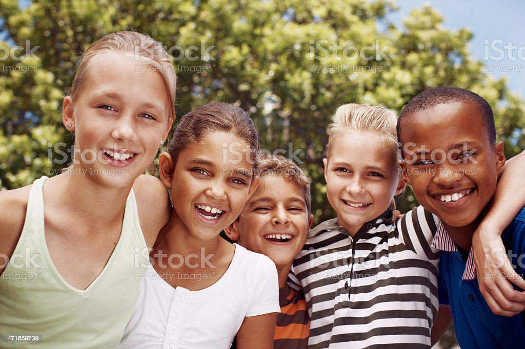 Enjoying their recess together royalty-free stock photo