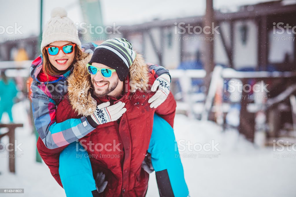 Enjoying their winter vacation stock photo