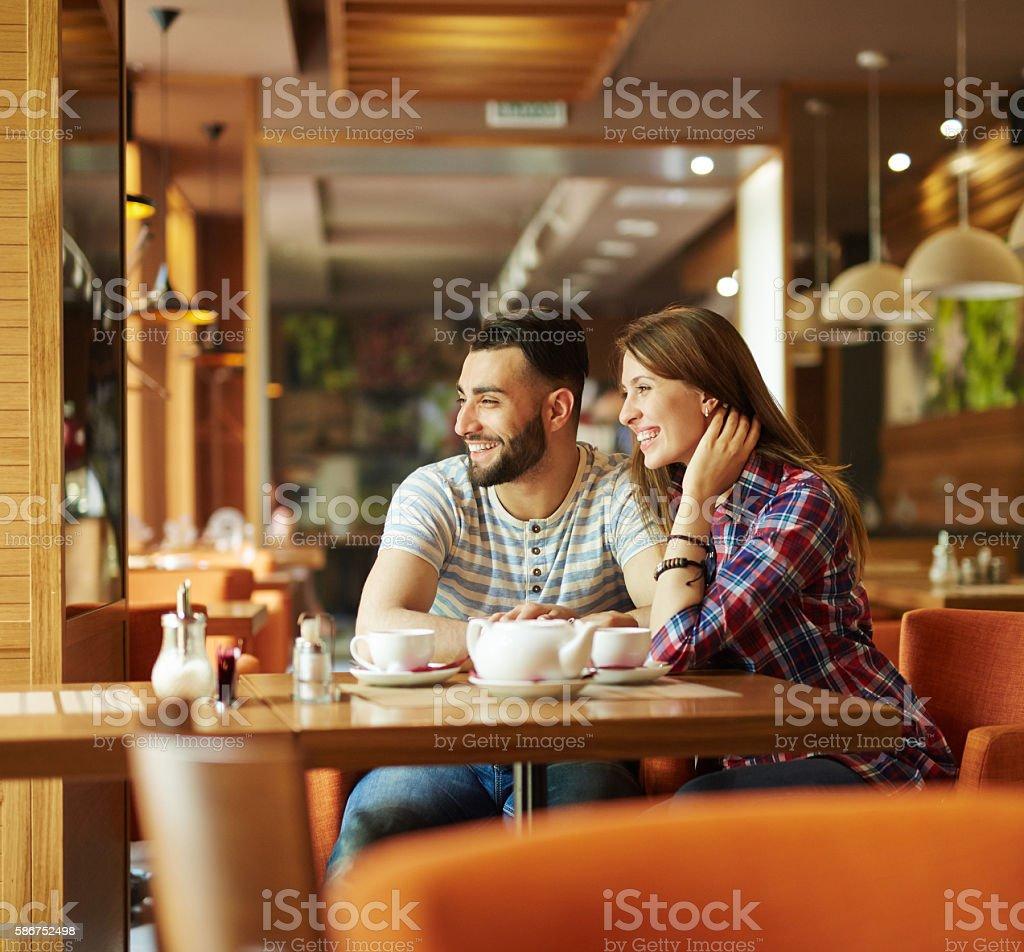 Enjoying time in cafe – Foto