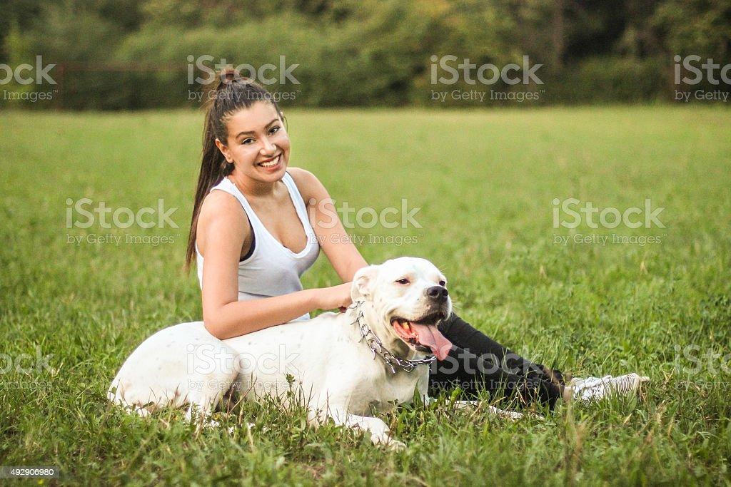 Enjoying time outdoors stock photo