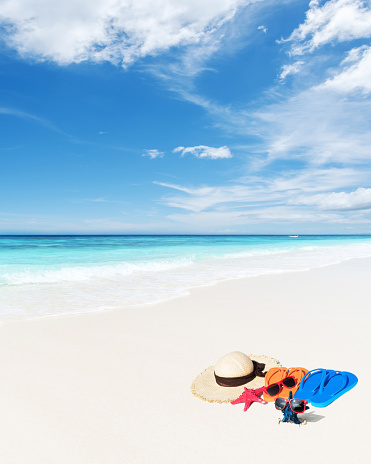 Enjoying tropical beach sunshine and summer vacation scene
