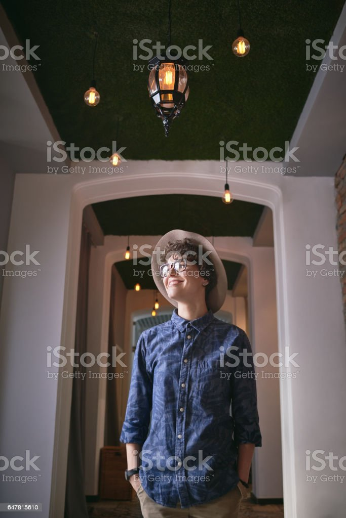 Enjoying uncommon interior stock photo