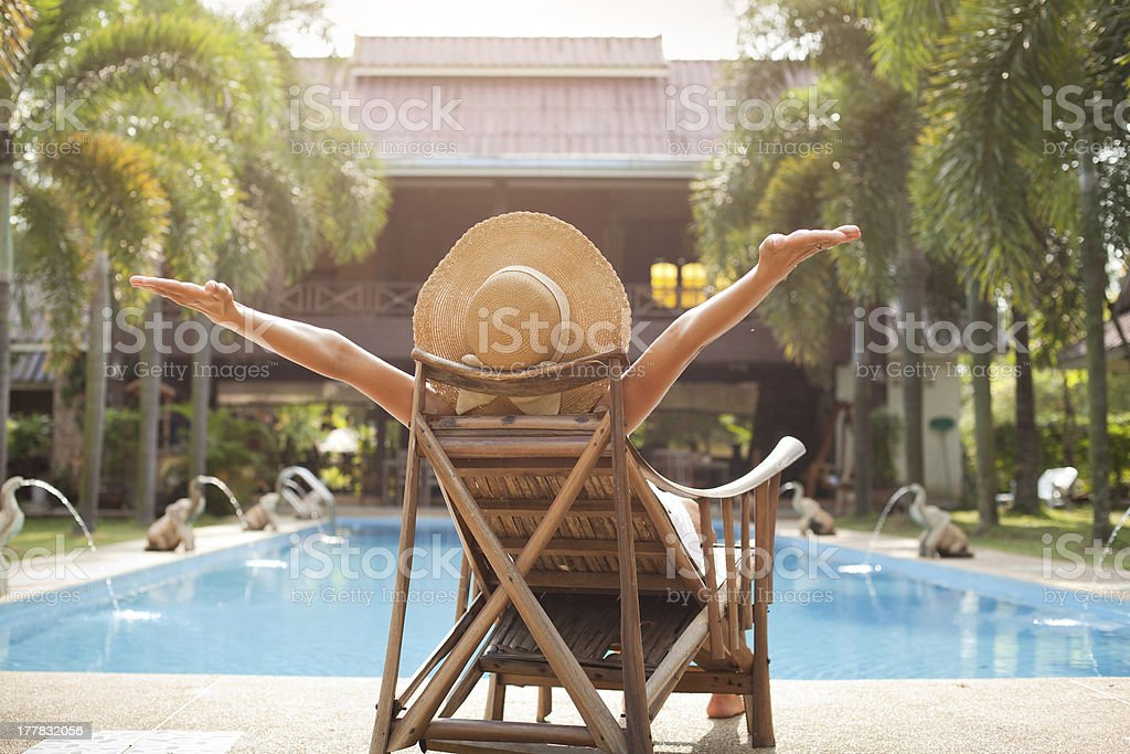 enjoying vacations stock photo