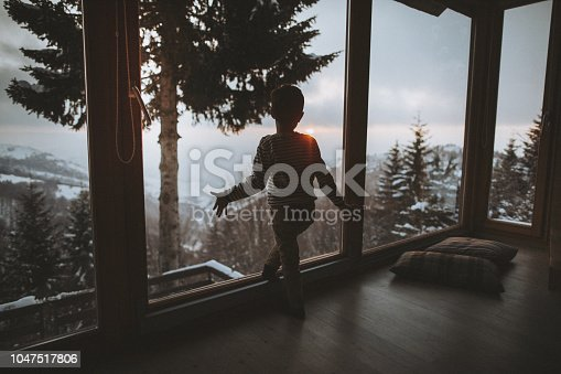 Photo of a little boy enjoying stunning view from the log cabin where he is spending winter holidays