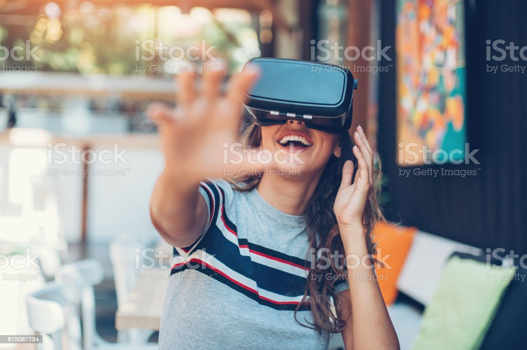 Enjoying virtual reality technology stock photo