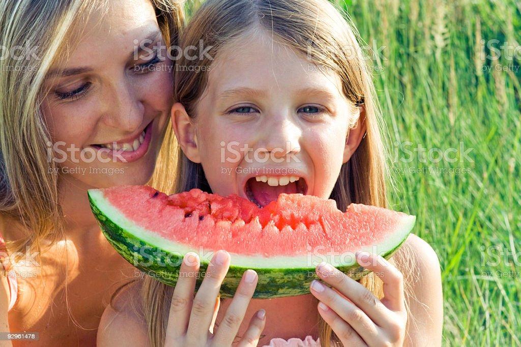 Enjoying watermelon royalty-free stock photo