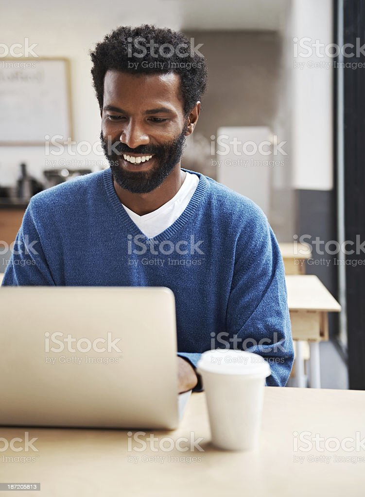Enjoying what the internet has to offer royalty-free stock photo