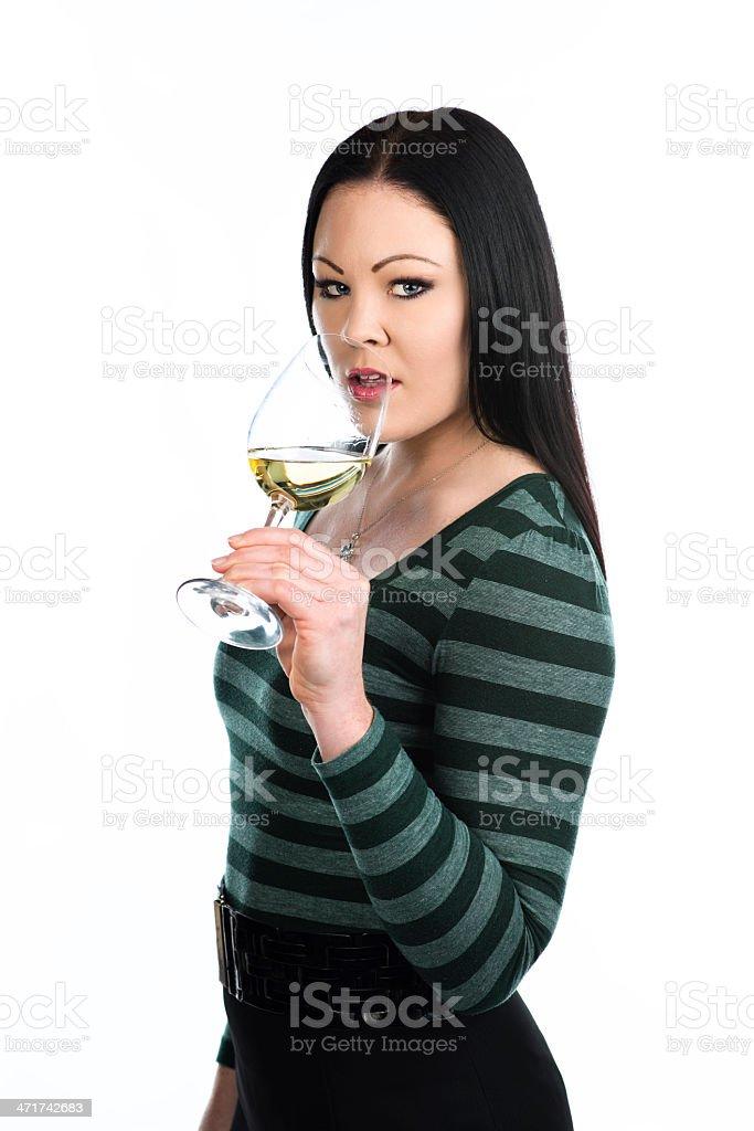 Enjoying white wine royalty-free stock photo