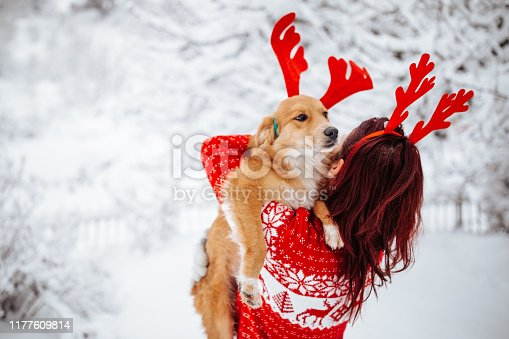Woman and dog with reindeer horns enjoying snow