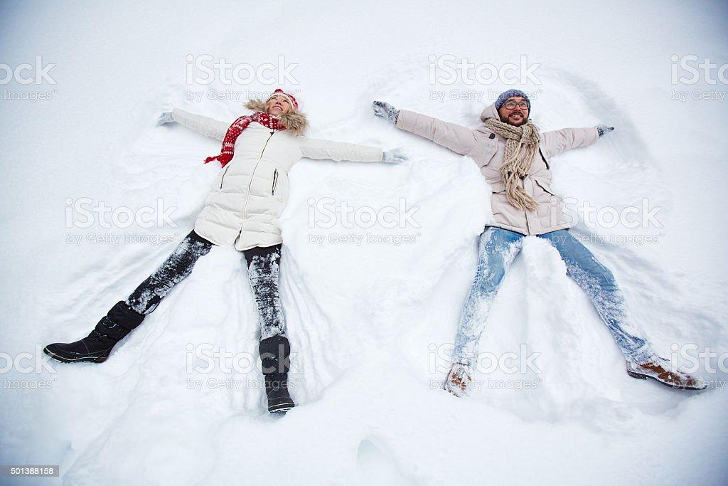 Enjoying winter stock photo
