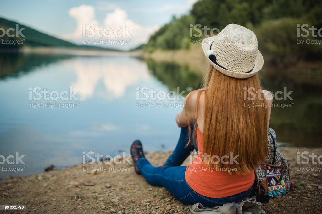 Enjoyment by the lake - Royalty-free Adult Stock Photo