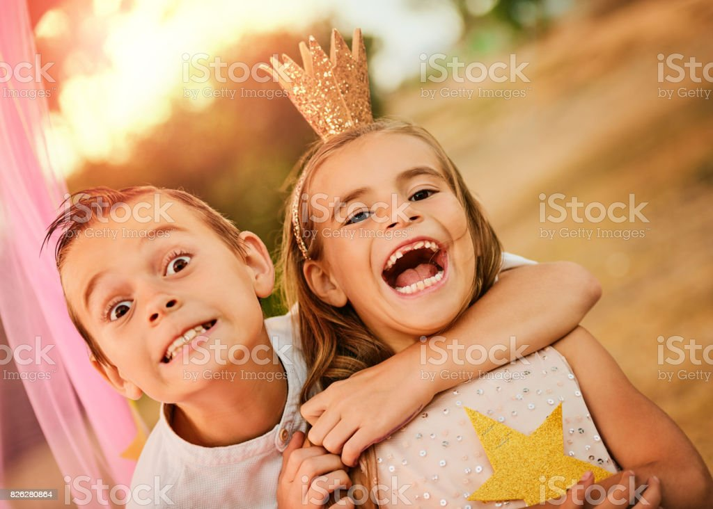 Enjoyment is spending time with your sibling stock photo