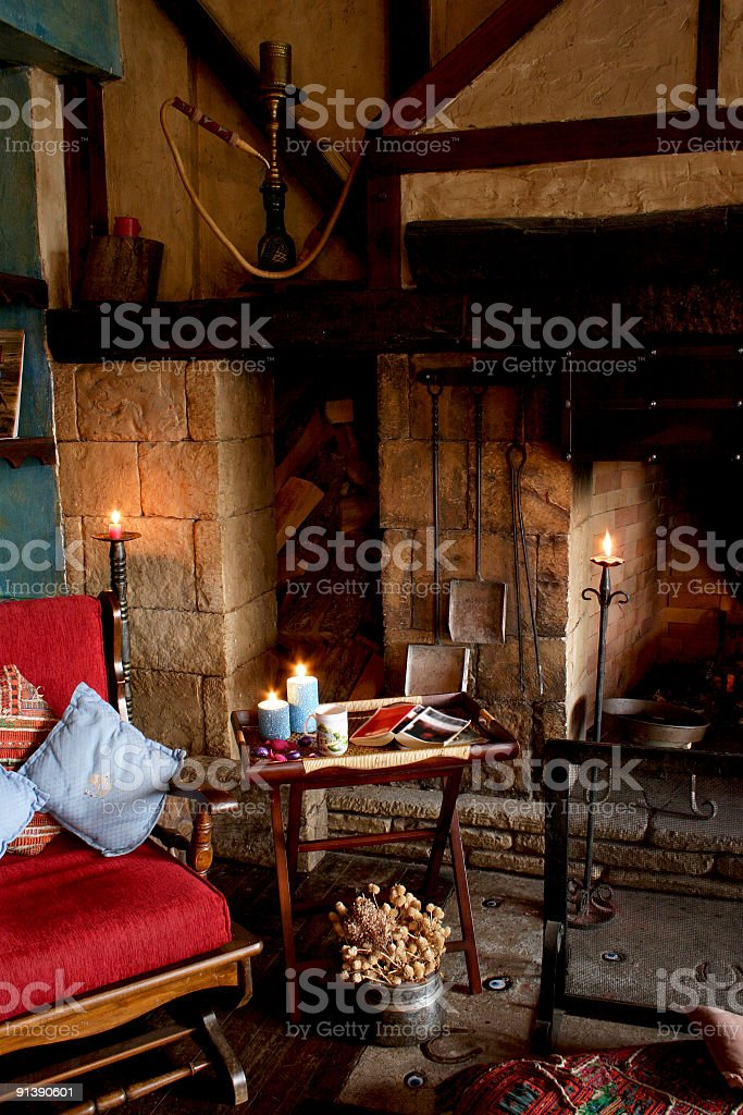 Enjoyment Of Fireplace royalty-free stock photo