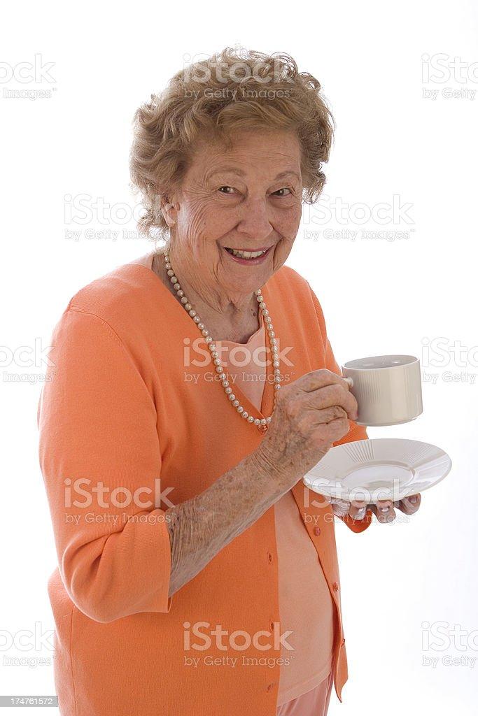 Enjoyng tea stock photo