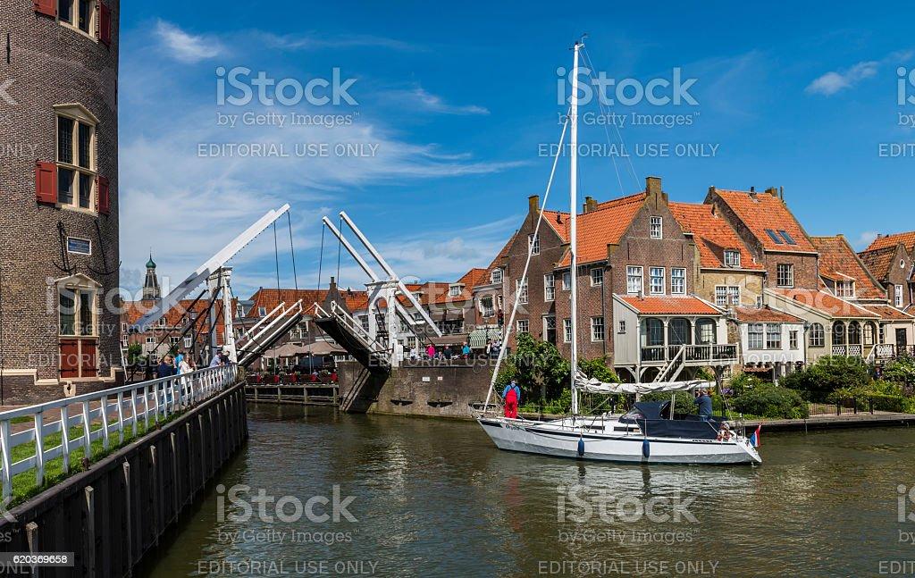 Enkhuizen with Sailing Ship zbiór zdjęć royalty-free
