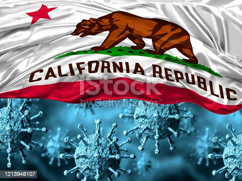 enlarged coronavirus, covid-19 under the flag of California state. Pandemic of respiratory disease. 3D rendering