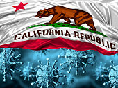 enlarged coronavirus, covid-19 under the flag of California state. Pandemic of respiratory disease. 3D rendering