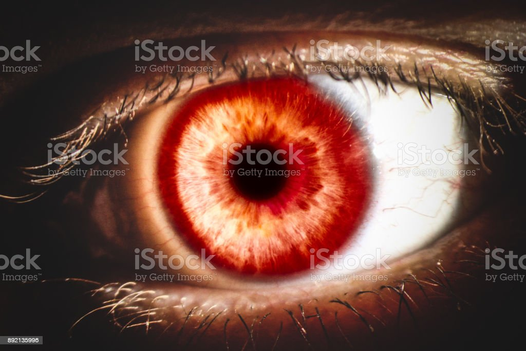 Enlarged Image Of A Red Eye With Iris Sclera And Pupil Stock Photo