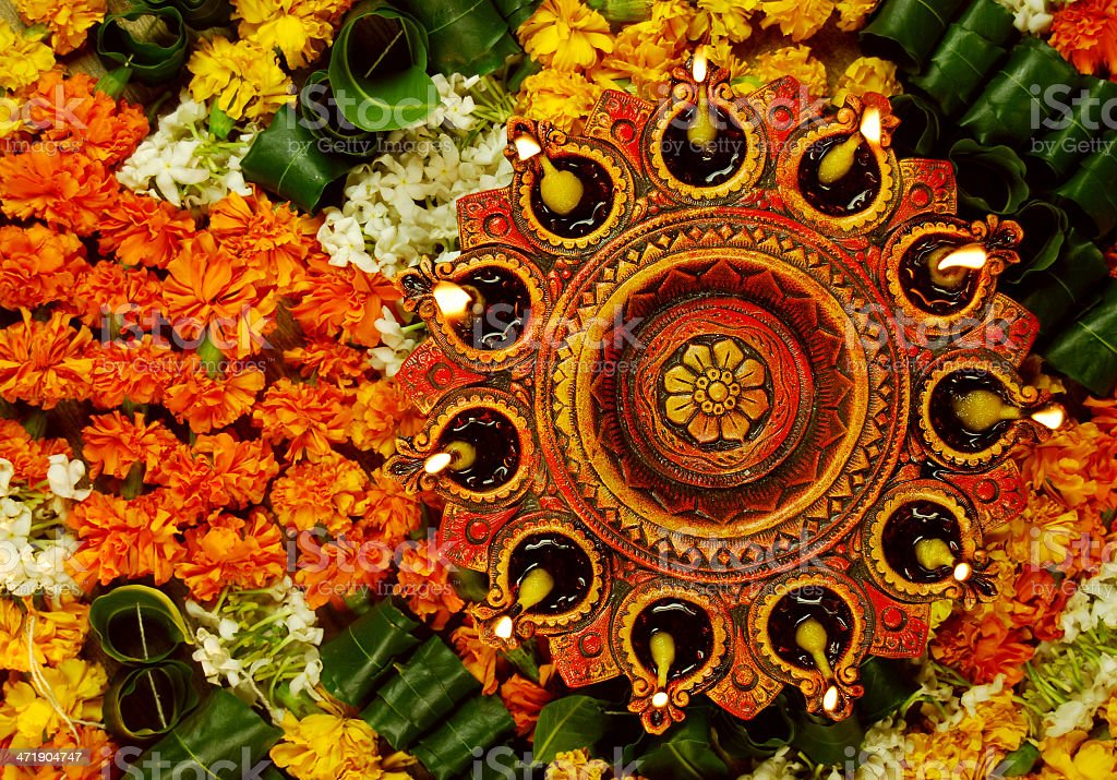 Enligtened diyas - concept of prayer and celebrations royalty-free stock photo
