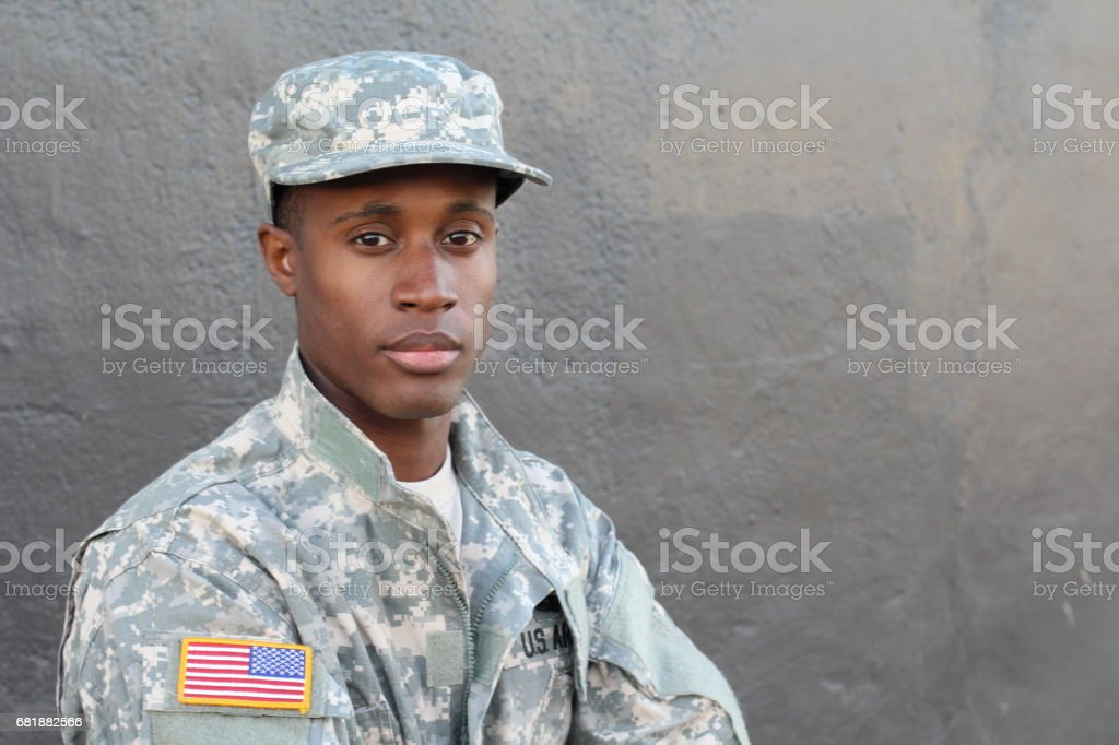 Enlisted serviceman isolated close up stock photo