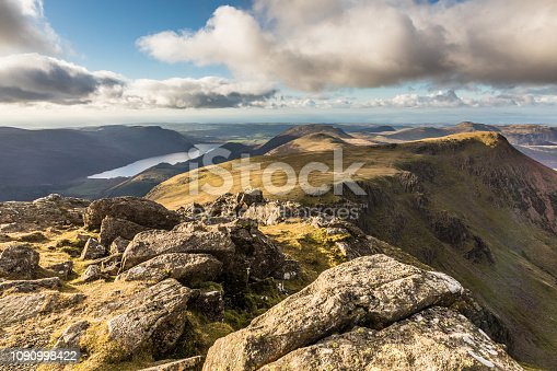 A view from Chapel Crags, towards Ennerdale Water, Cumbria, Lake District, England.