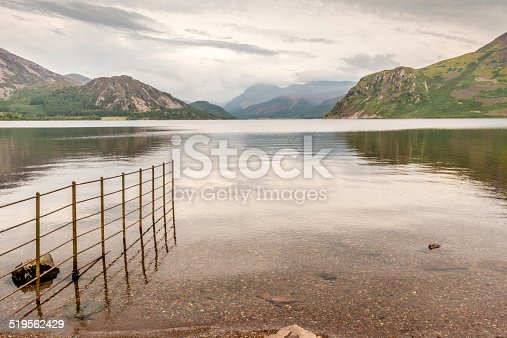 Ennerdale Water in the UK Lake District shot on a cloudy day in August,