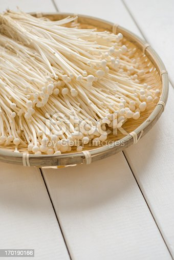 Enokitake (Cultivated Flammulina velutipes) are mushrooms used in East Asian cuisine available fresh or canned.