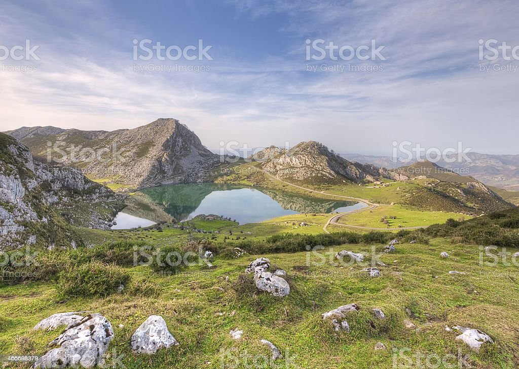 Enol lake. stock photo