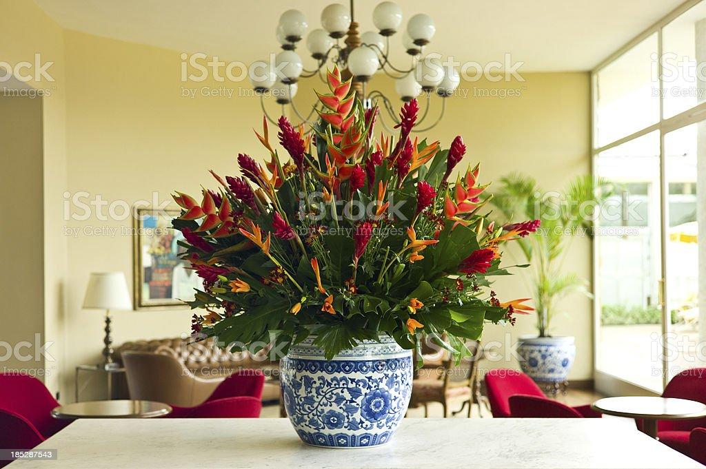 Enormous Flower Arrangement in Elegant Lounge royalty-free stock photo