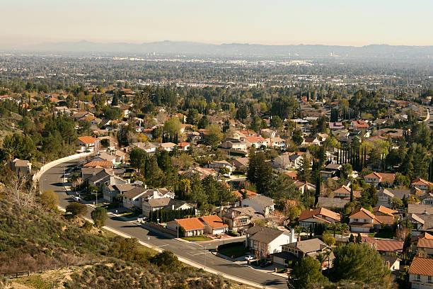enormous suburban community - san fernando valley stock photos and pictures