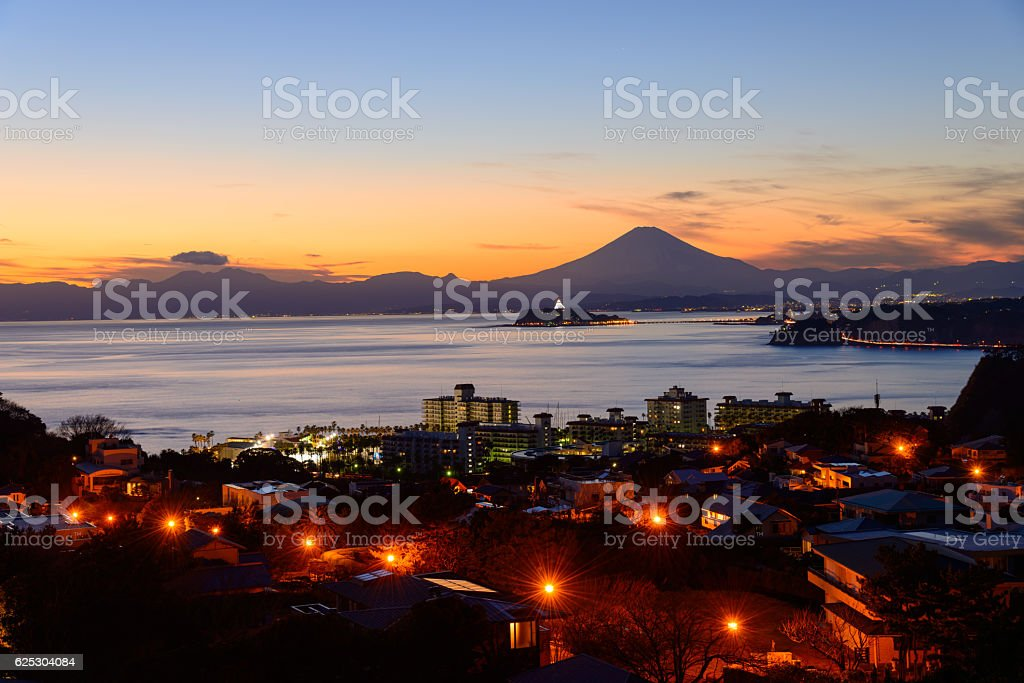 Enoshima and Mt.Fuji in the twilight stock photo