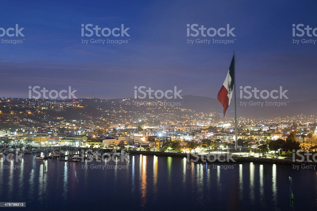 Ensenada, México, toma la noche - foto de stock