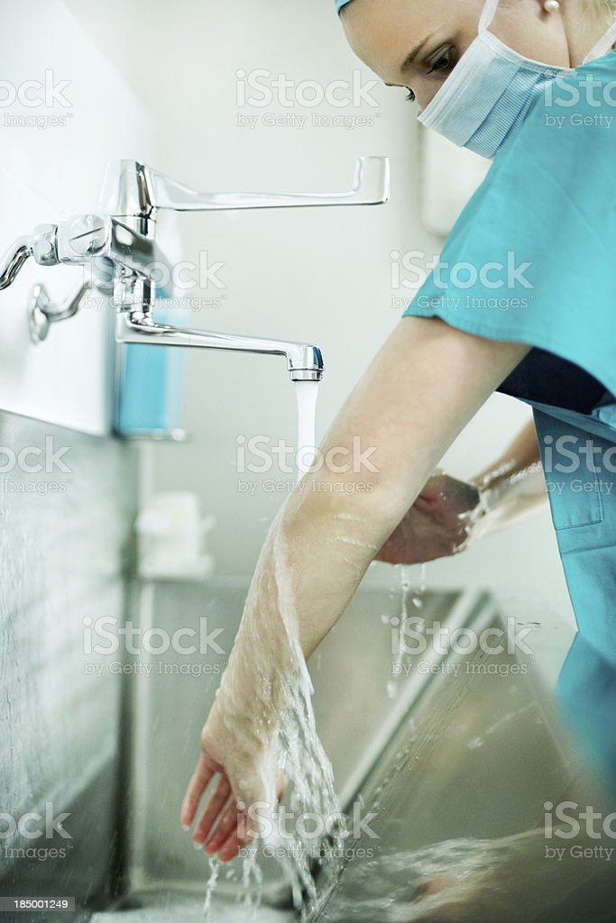 Ensuring a clean and steralized operating room stock photo