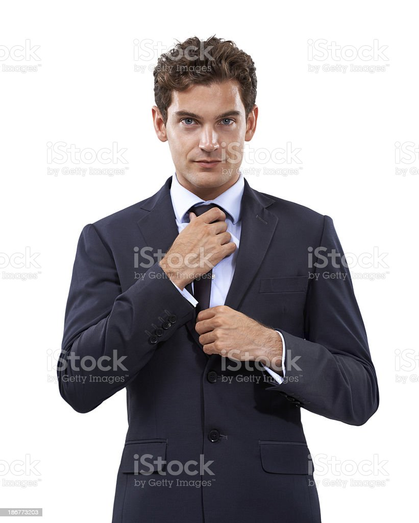 Ensuring that his looks are pristine stock photo