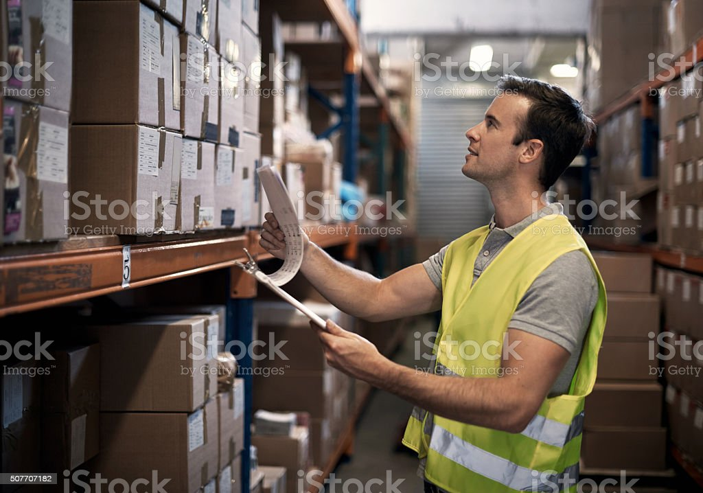 Ensuring the order is ready for shipping stock photo