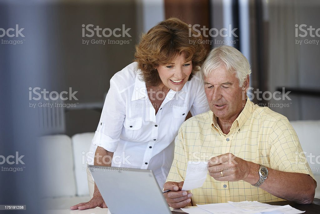 Ensuring they have all their finaces in order royalty-free stock photo