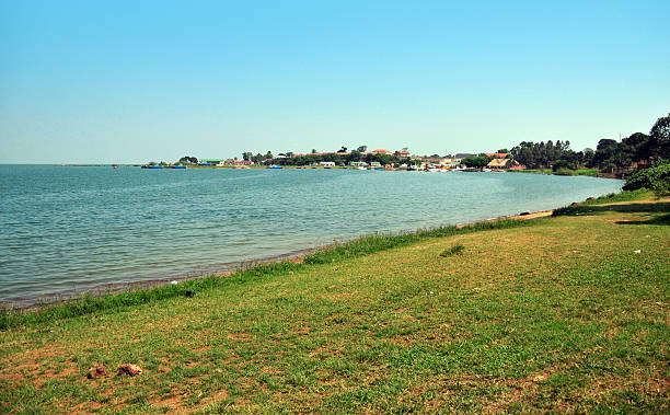 Entebbe, Uganda: the Botanical beach Entebbe, Wakiso District, Uganda: the Botanical beach on the shore of Lake Victoria - looking across the bay, at the marina and the naval base, Manyago area - photo by M.Torres naval base stock pictures, royalty-free photos & images