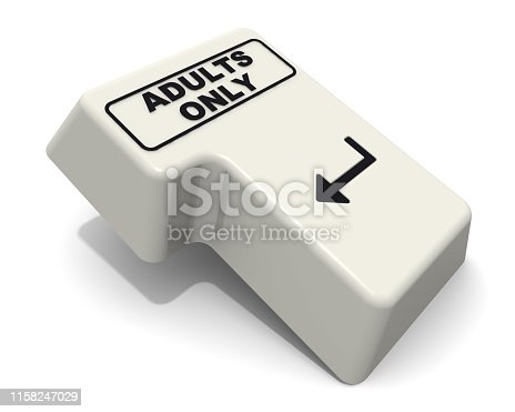 istock Enter key with ADULTS ONLY text 1158247029