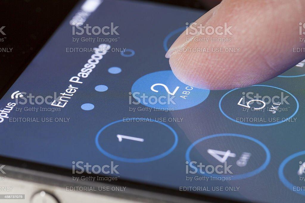 Enter passcode screen of iOS 7 stock photo