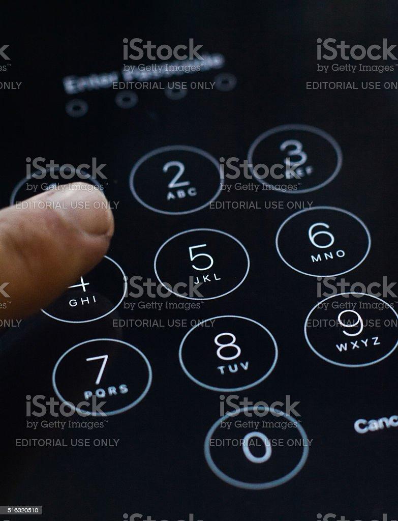 Enter passcode screen of iOS 8 stock photo