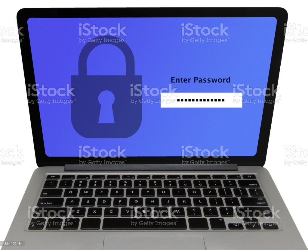'Enter Password' Screen on Laptop, Isolated on White Background - Data Protection Concept stock photo