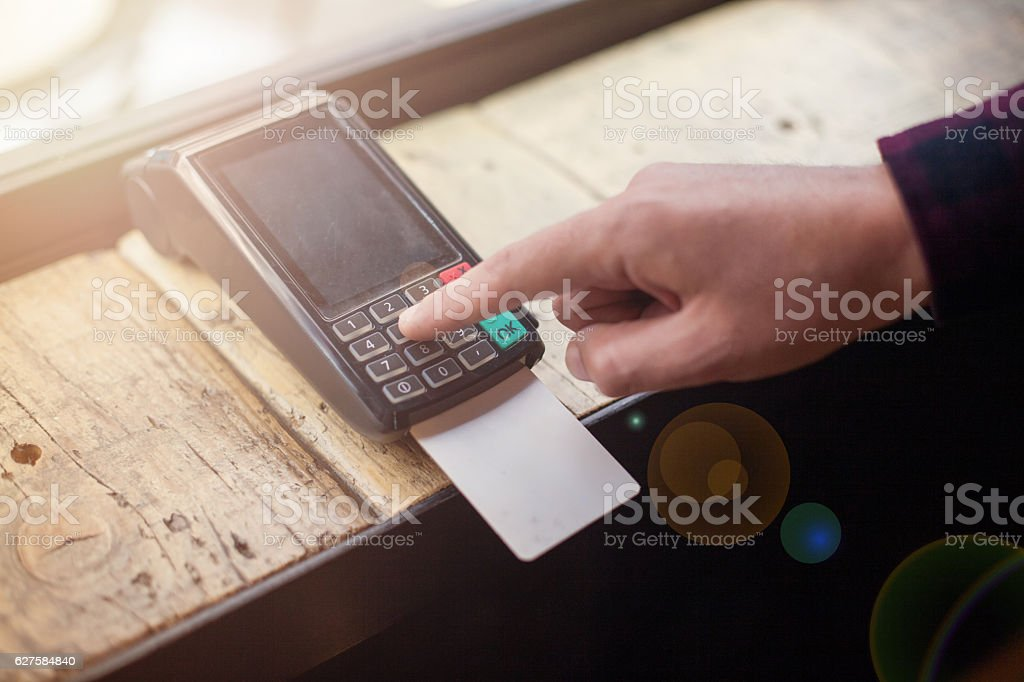 Enter Pin Credit card machine payment stock photo
