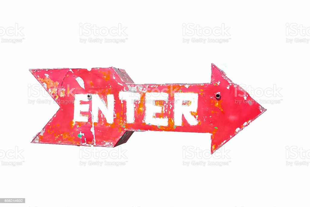 Enter sign with arrow stock photo