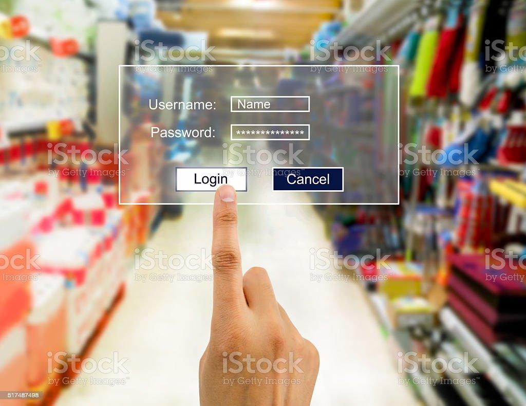 enter the password in supermarket stock photo