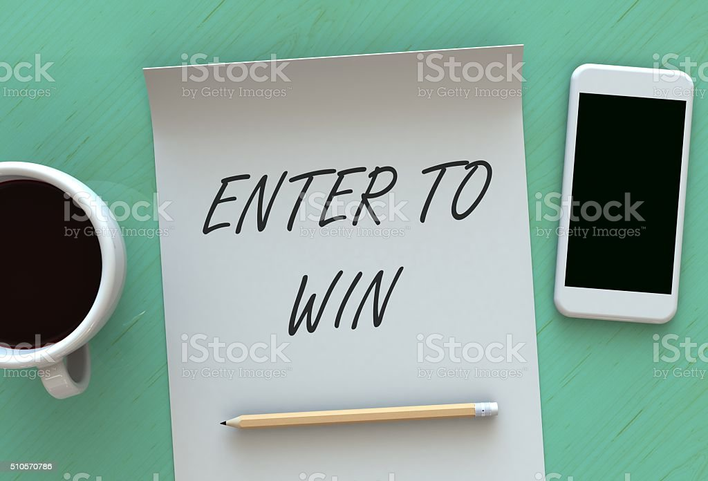Enter to Win, message on paper stock photo