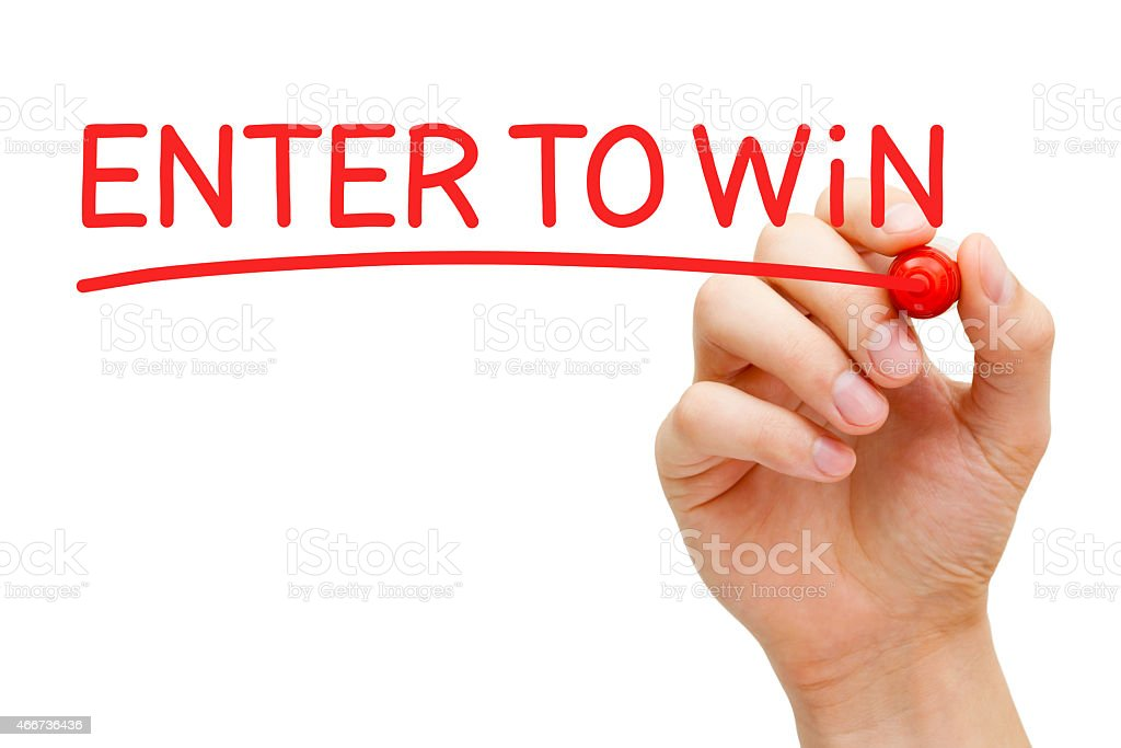 Enter to Win Red Marker stock photo