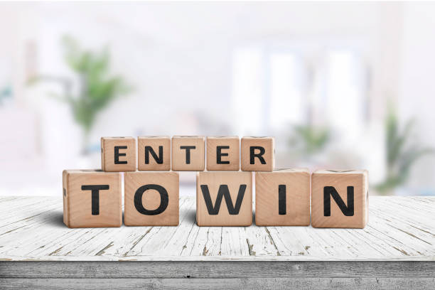 Enter to win sign in a bright room stock photo