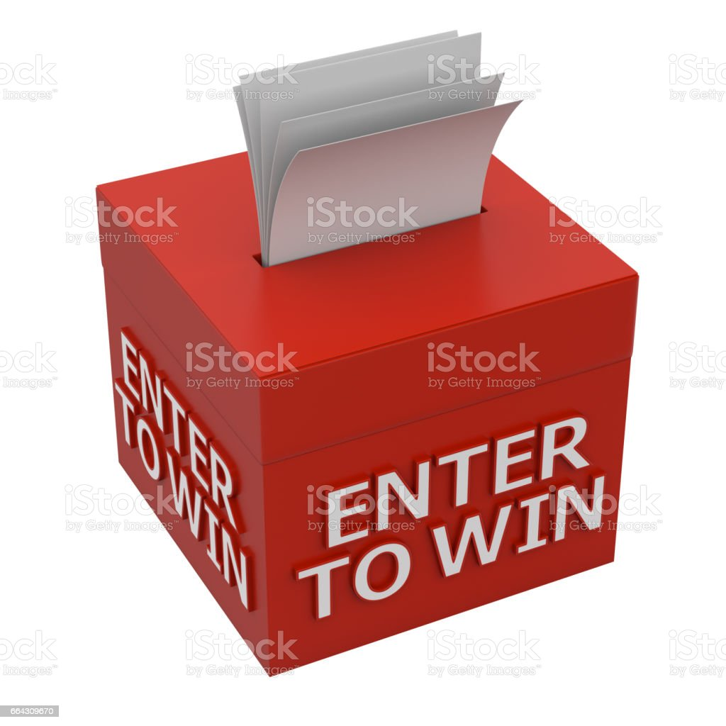 enter to win words on a box stock photo