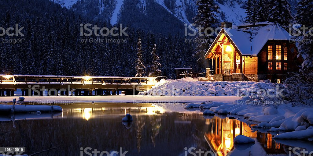 Entering a Magical Winter Wonderland stock photo