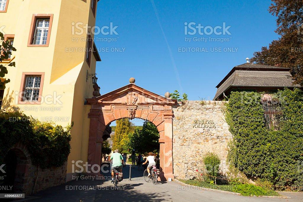 Entering Castle Schloss Vollrads stock photo